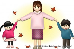 秋の母と子供(紅葉)イラスト