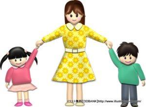 春の母と子供(基本)イラスト
