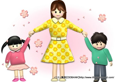 春の母と子供(桜)イラスト