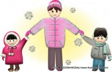 冬の母と子供(雪)イラスト