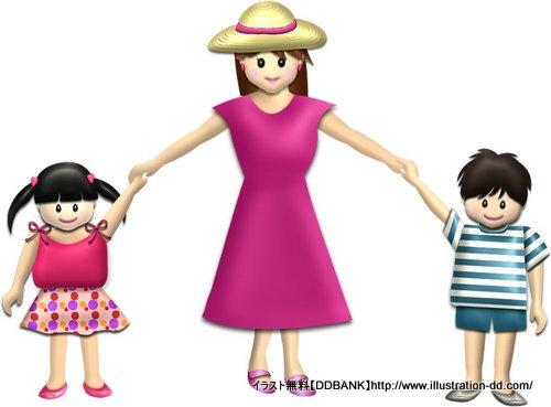 夏の母と子供(基本)イラスト