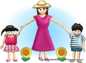 夏の母と子供(ひまわり)のイラスト