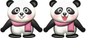 ピンクのマフラーを巻いたパンダのイラスト