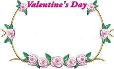 バレンタインデーの薔薇の飾り枠イラスト