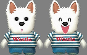 ウェスティ犬・♂夏服のイラスト