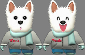 ウェスティ犬・♂冬服のイラスト