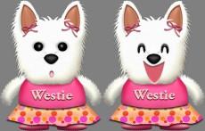 ウェスティ犬・♀夏服のイラスト
