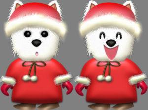 ウェスティ犬・♀冬服のイラスト