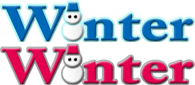 「Winter」の雪だるま付きロゴ・デザインん