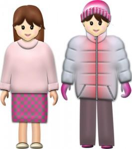 秋服・冬服の女性イラスト