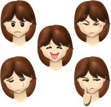 女性の顔・表情のイラスト集