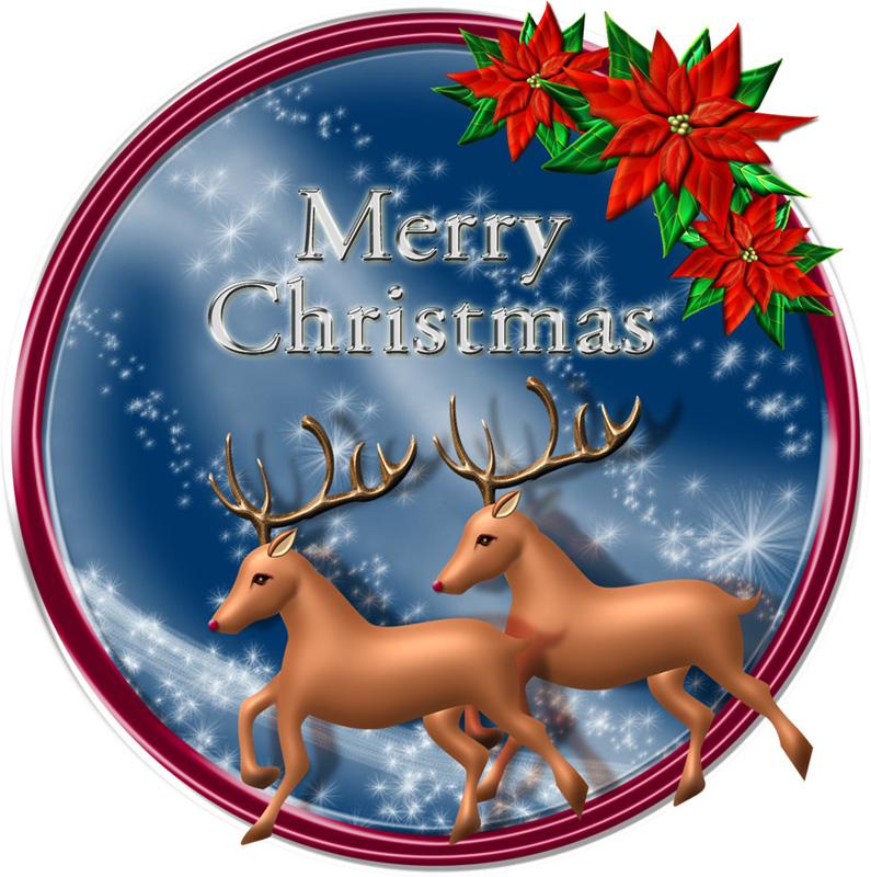 トナカイのクリスマスプレートのイラスト