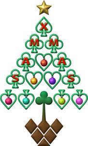 トランプのクリスマスツリーのイラスト