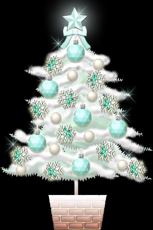 白いクリスマスツリーのイラスト