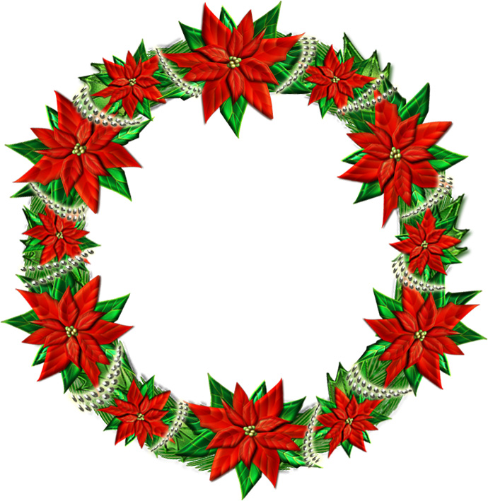 赤いポインセチアのクリスマスリースのイラスト