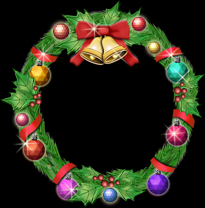 ガラス玉とベル付きクリスマスリースのイラスト