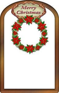 クリスマスリースの枠イラスト