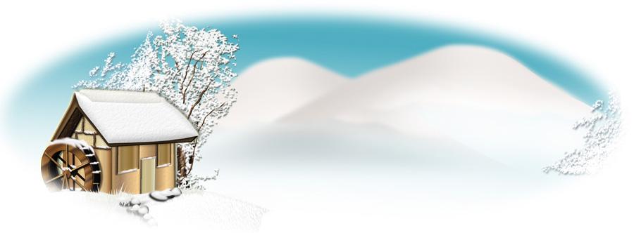 楕円形の雪景色イラスト
