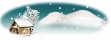 楕円形の雪の夜のイラスト