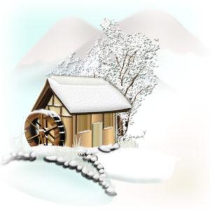 四角い雪景色イラスト