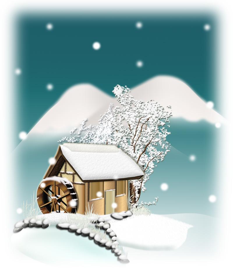 四角い雪の夜のイラスト
