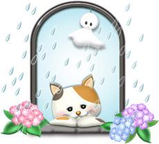 梅雨の猫とテルテル坊主のイラスト