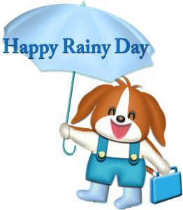 梅雨の日の犬のイラスト