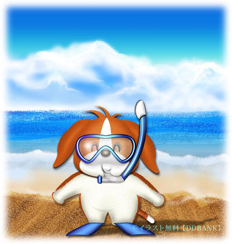 ビーチの犬のイラスト