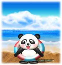 ビーチのパンダのイラスト