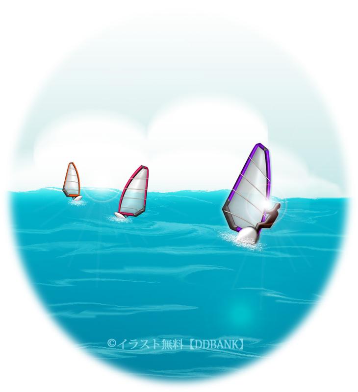 ウィンドサーフィンの海のイラスト