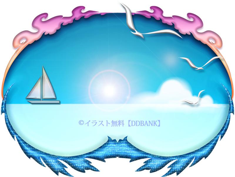 ヨットとカモメのいる夏の海のイラスト