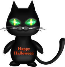 ハロウィンの可愛い黒猫イラスト