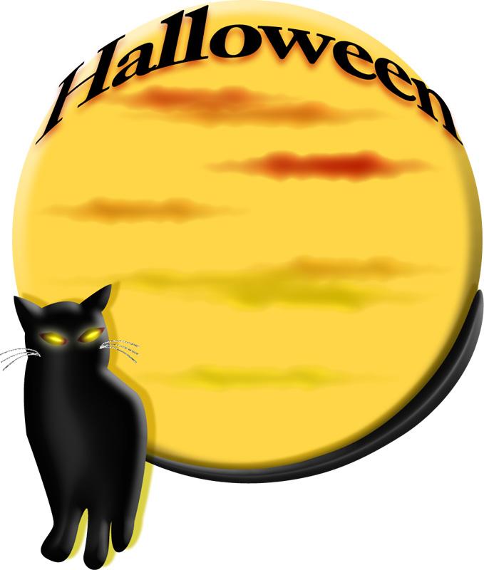 ハロウィンの満月と黒猫のイラスト