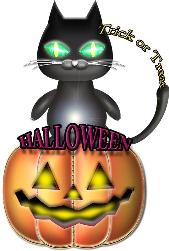 ハロウィンのカボチャと黒猫のイラスト