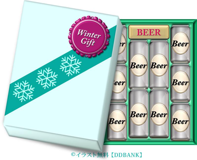 缶ビールのお歳暮のイラスト