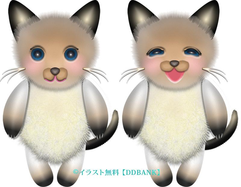 表情の違う2体のシャム猫イラスト