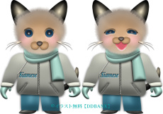 冬服を着た男の子のシャム猫イラスト