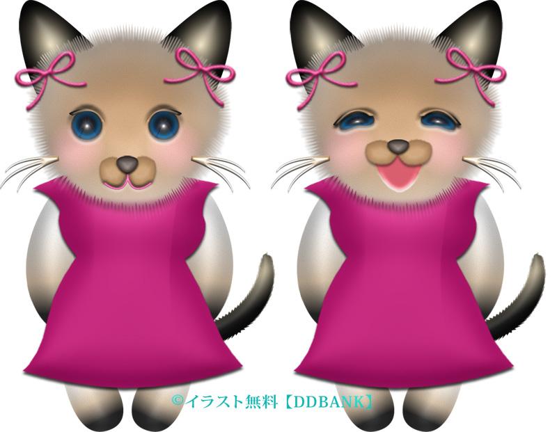夏ドレスを着たメスのシャム猫のイラスト