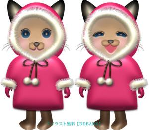 冬コートを着たメスのシャム猫のイラスト