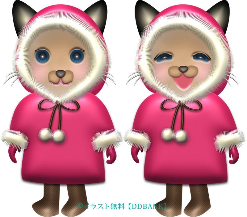冬コートを着た女の子のシャム猫 イラストが無料のddばんく