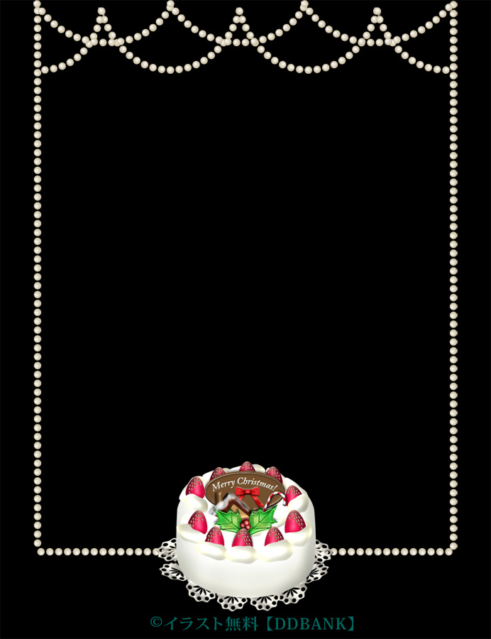 クリスマスケーキの飾り枠イラスト