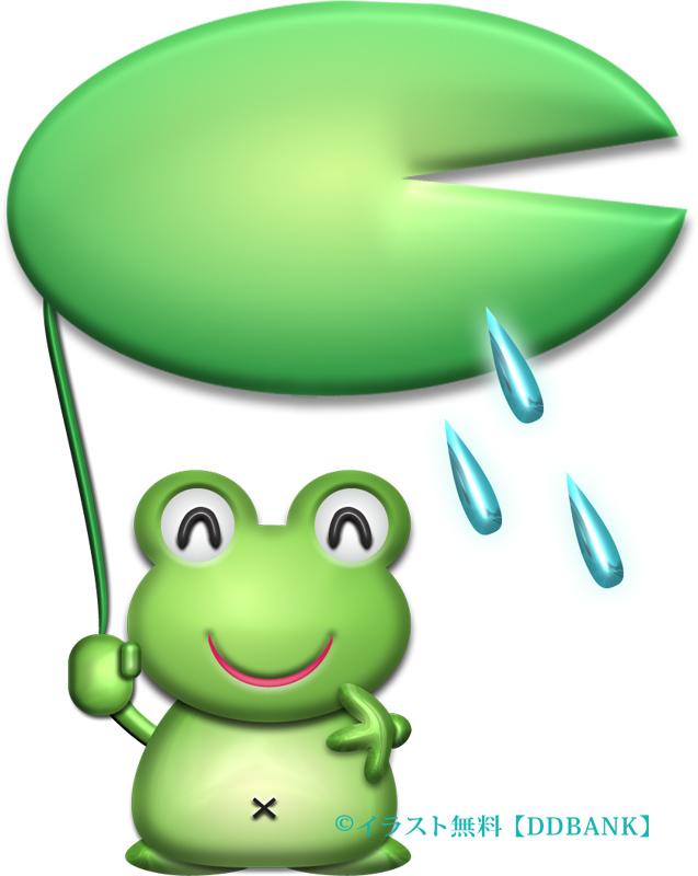 ハスの葉の傘をさしたカエルのイラスト