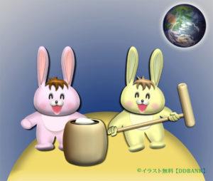 月で餅つきするウサギの無料イラスト