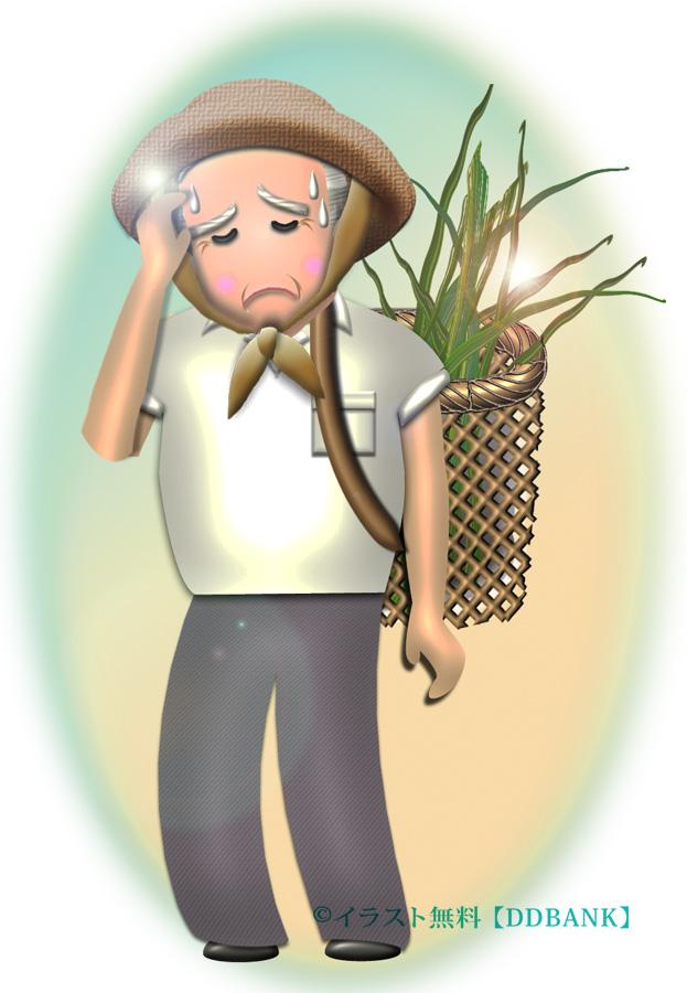 猛暑で働く高齢者と熱中症をイメージした無料イラスト