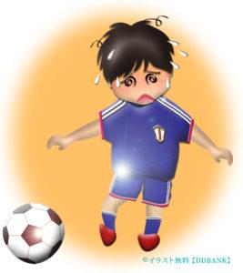 猛暑でのサッカーと熱中症をイメージした無料イラスト
