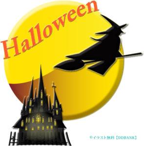 ハロウィンの満月を横切る魔女シルエットの無料イラスト