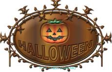 木製HALLOWEENのロゴ・イラスト