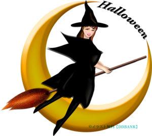 ハロウィンの三日月とキレイな魔女の無料イラスト
