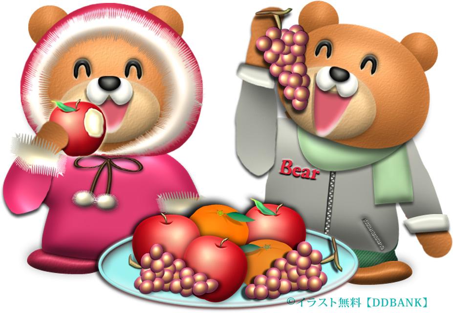 山盛りフルーツを食べる冬のクマたちのイラスト