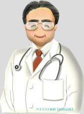 眼鏡をかけた中年のお医者さんのイラスト